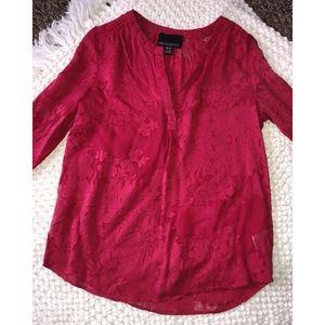 Cynthia Rowley Tops - red Cynthia rowley flower detail chiffon blouse